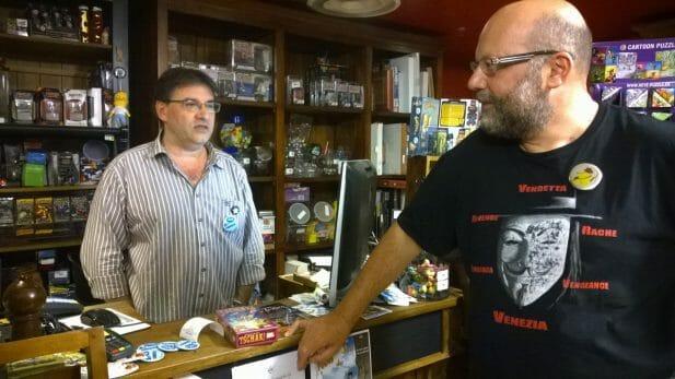 Notre discussion à la boutique avec un membre des Aventuriers du Rhône