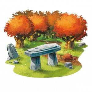 Dolmen sous forêt d'automne