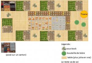 Plan de table pour partie de Caverna à 7, pour 6 buveurs de bière et un de tisane dans un bol