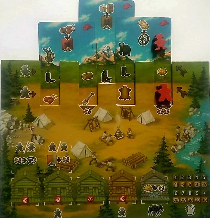 les 3 cartes composent des séries d'action pour chaque pionner le long de leur chemin. En bas à droite le scoring des cartes montagne