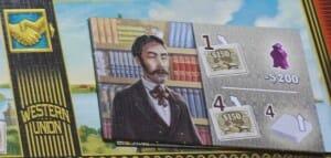 Une tuile marché avec le symbole marché (en haut à gauche). Le monsieur n'est pas une allégorie du bon vivant. Il veut juste des parts du télégraphe.