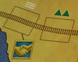 Deux emplacements de rail : à gauche, la plaine, sans coût supplémentaire ; à droite, des collines, coûtant davantage. La pose d'un rail sur la case de gauche déclenche une phase de marché.