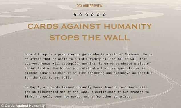cards against humanity contre trump