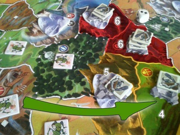 Cas d'école : les Elfes veulent traverser les terres des Trolls. Mais ceux-ci sont sévérement retranchés. Il faut pas moins de 6 combattants pour s'emparer de leurs provinces les plus fortes. Les Elfes décident donc de prendre le long détour, prenant d'abord une province à 5, puis une à 4. Ouch ! Un peu d'aide du dé de renfort serait la bienvenue...