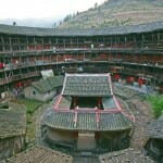 Fujian Tulou (China), 46 multi-storey earthen houses built between the 12th and 20th centuries over 120 km in south-west of Fujian province. They house up to 800 people each. Built for defence purposes, they were called a
