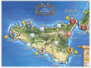 La zone de contrôle maritime de la Sicile et les zones de ravitaillement de Lilybaeum (à l'ouest) et de Syracuse (à l'est)