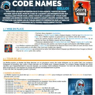 Règle express : fiche résumé Codenames