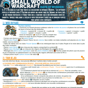 Règle express : fiche résumé Small World of Warcraft