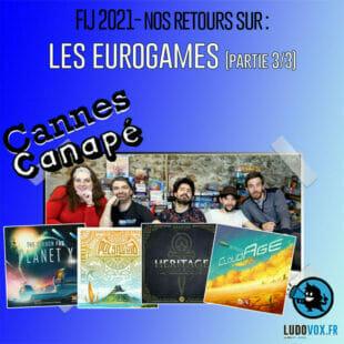 CANNES CANAPÉ · FIJ2021· LES JEUX EUROGAMES : CloudAge, Vampire The Masquerade Heritage, Polynesia, A la recherche la planète X